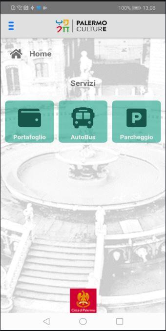 PalerMobilità schermata iniziale