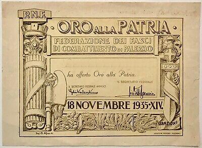certificato oro alla patria palermo